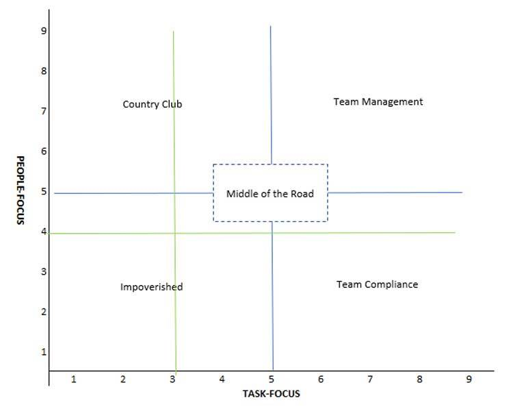 An example of the leadership grid and how to use the assessment results to plot your natural team management style.